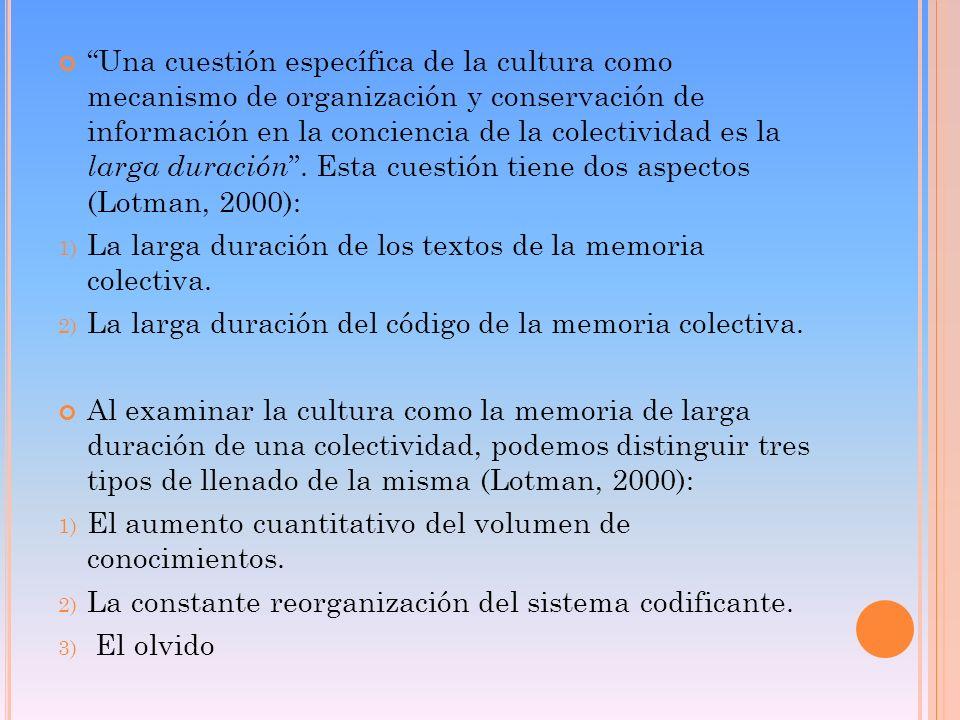 Una cuestión específica de la cultura como mecanismo de organización y conservación de información en la conciencia de la colectividad es la larga dur