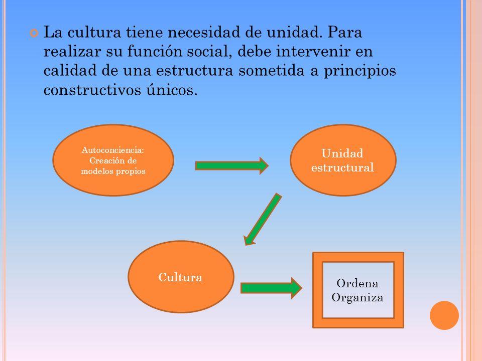 La cultura tiene necesidad de unidad. Para realizar su función social, debe intervenir en calidad de una estructura sometida a principios constructivo