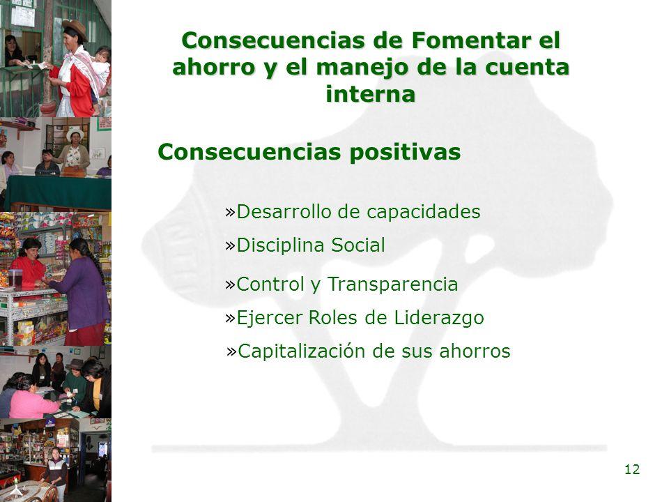 12 Consecuencias de Fomentar el ahorro y el manejo de la cuenta interna Consecuencias positivas »Ejercer Roles de Liderazgo »Disciplina Social »Desarr
