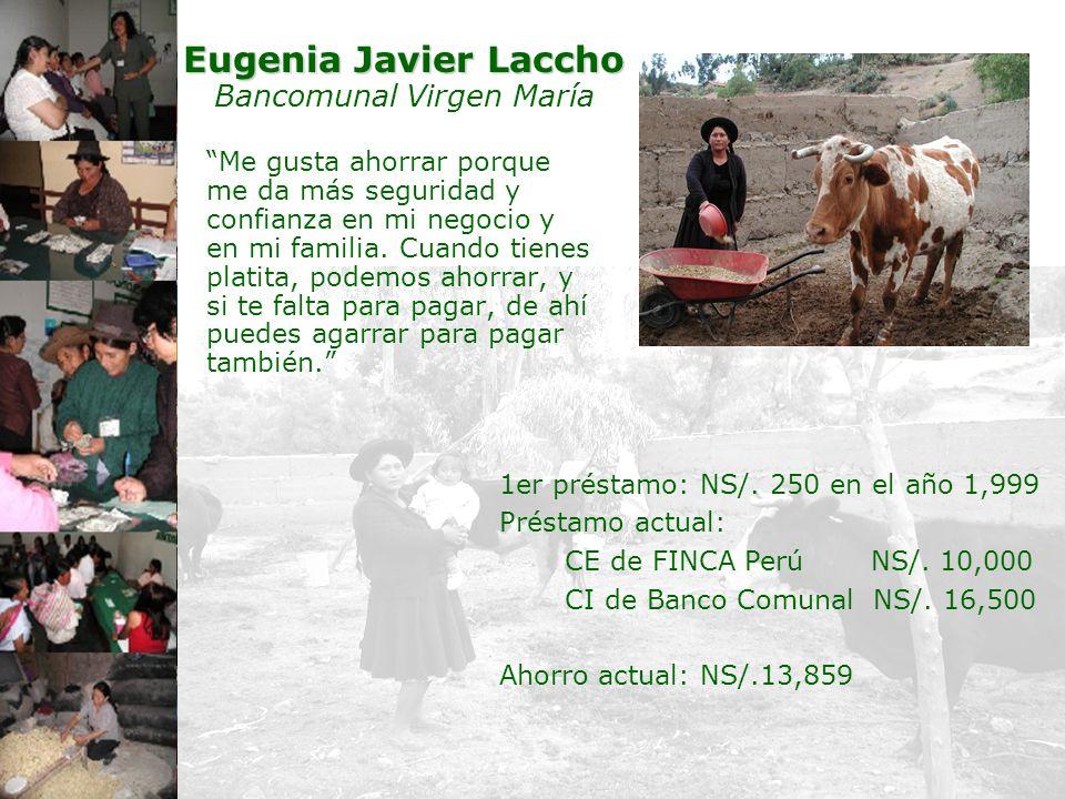 16 Eugenia Javier Laccho Eugenia Javier Laccho Bancomunal Virgen María Me gusta ahorrar porque me da más seguridad y confianza en mi negocio y en mi f