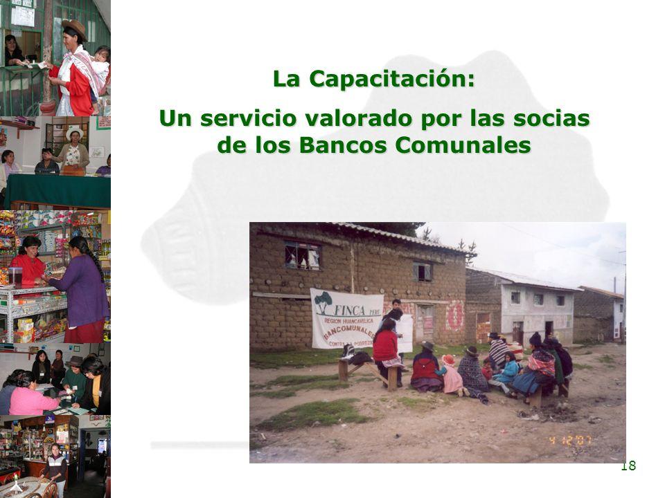 18 La Capacitación: Un servicio valorado por las socias de los Bancos Comunales