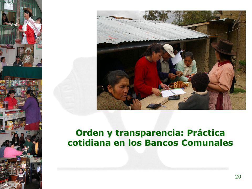 20 Orden y transparencia: Práctica cotidiana en los Bancos Comunales