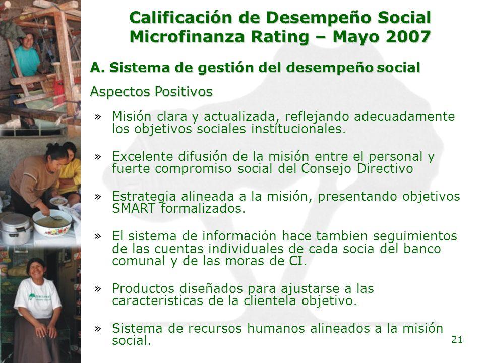 21 Calificación de Desempeño Social Microfinanza Rating – Mayo 2007 A. Sistema de gestión del desempeño social »Misión clara y actualizada, reflejando