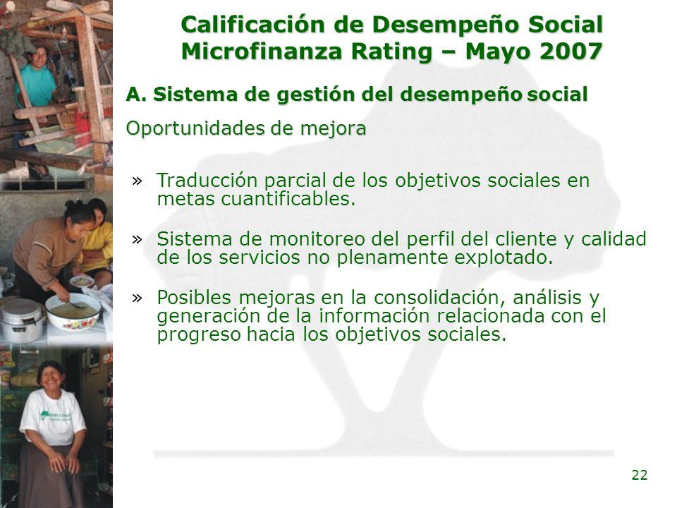 22 Calificación de Desempeño Social Microfinanza Rating – Mayo 2007 A. Sistema de gestión del desempeño social »Traducción parcial de los objetivos so