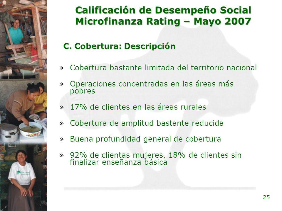 25 Calificación de Desempeño Social Microfinanza Rating – Mayo 2007 C. Cobertura: Descripción C. Cobertura: Descripción »Cobertura bastante limitada d