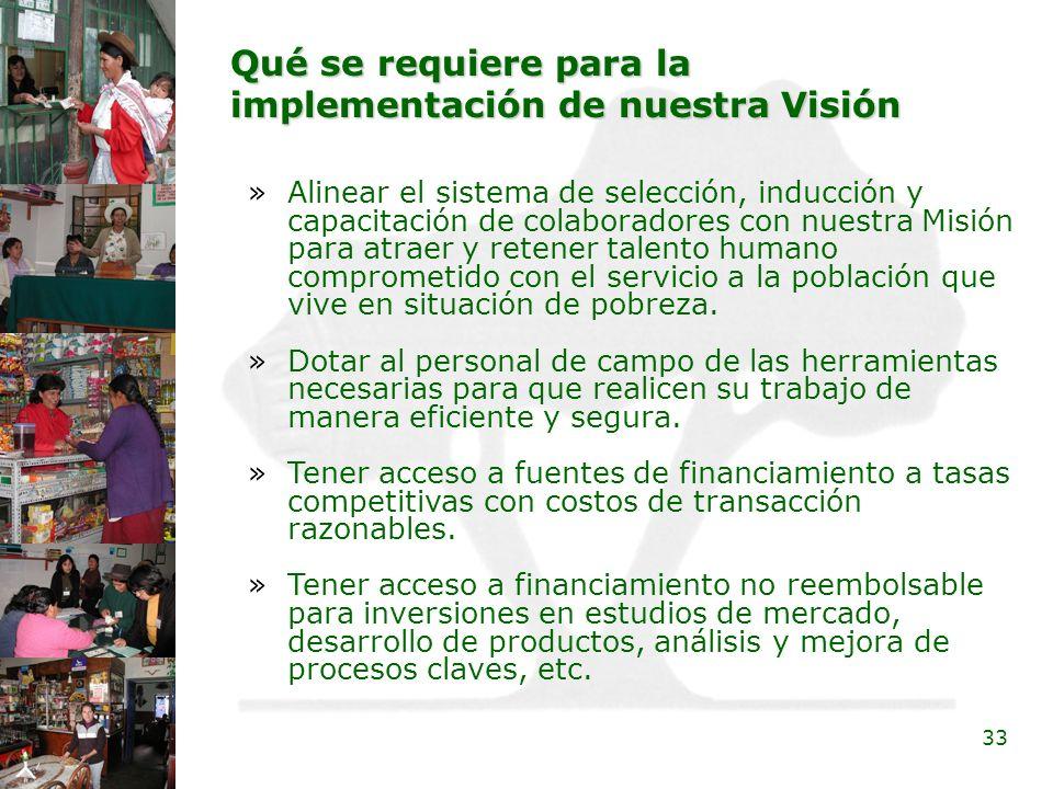 33 Qué se requiere para la implementación de nuestra Visión »Alinear el sistema de selección, inducción y capacitación de colaboradores con nuestra Mi