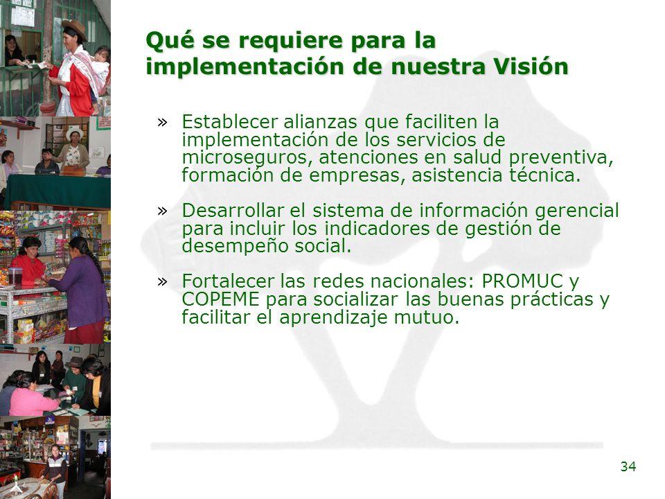 34 Qué se requiere para la implementación de nuestra Visión »Establecer alianzas que faciliten la implementación de los servicios de microseguros, ate
