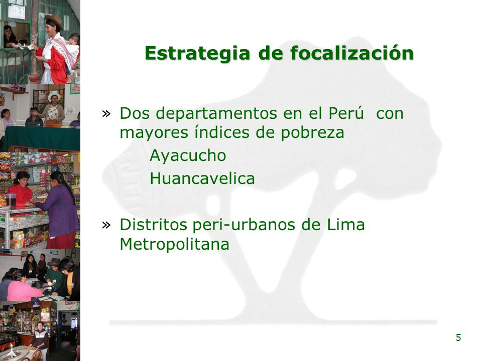 5 Estrategia de focalización »Dos departamentos en el Perú con mayores índices de pobreza Ayacucho Huancavelica »Distritos peri-urbanos de Lima Metrop