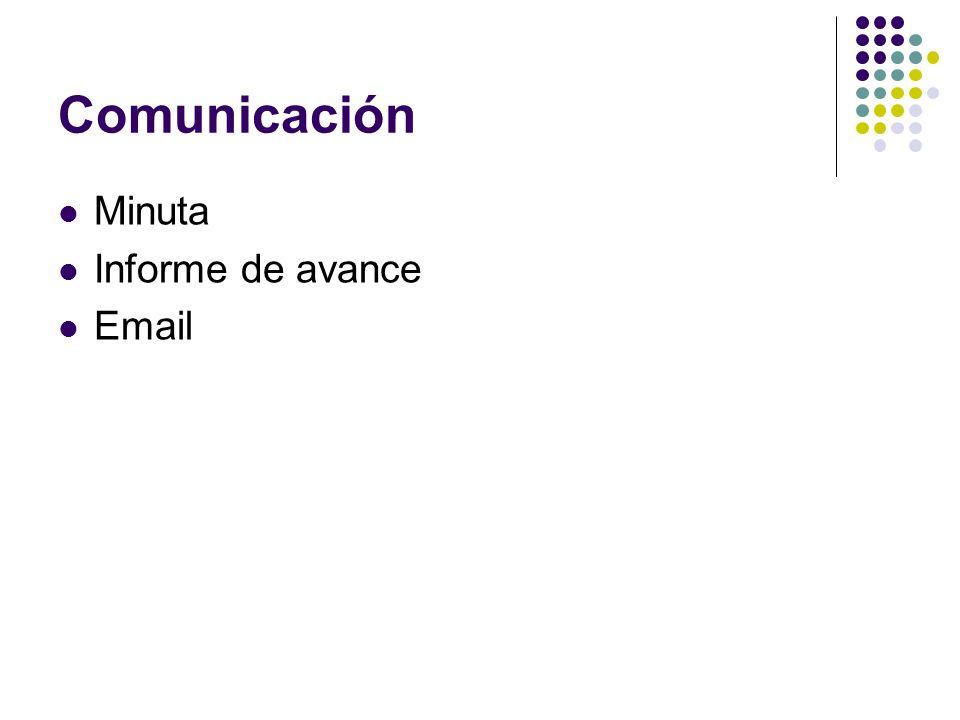 Comunicación Minuta Informe de avance Email