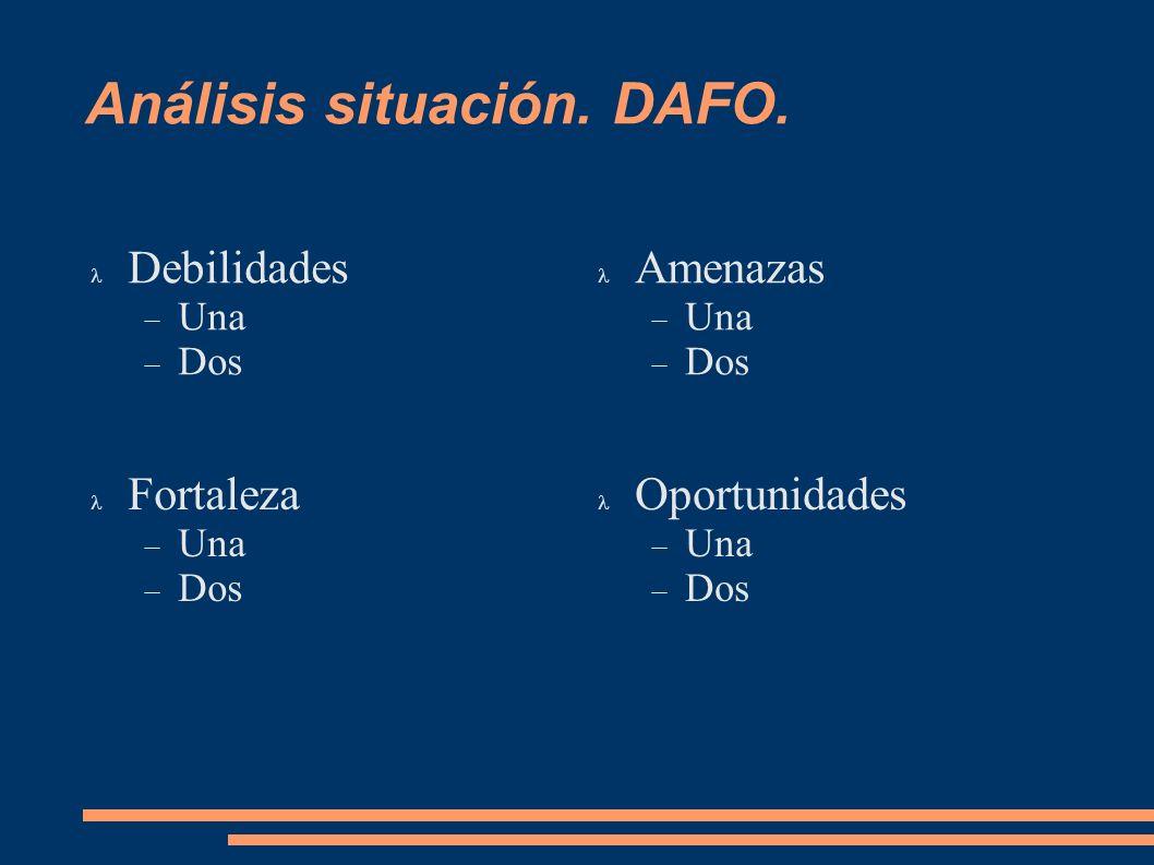 Análisis situación. DAFO. Debilidades Una Dos Amenazas Una Dos Fortaleza Una Dos Oportunidades Una Dos
