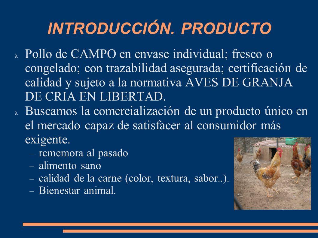 INTRODUCCIÓN. PRODUCTO Pollo de CAMPO en envase individual; fresco o congelado; con trazabilidad asegurada; certificación de calidad y sujeto a la nor