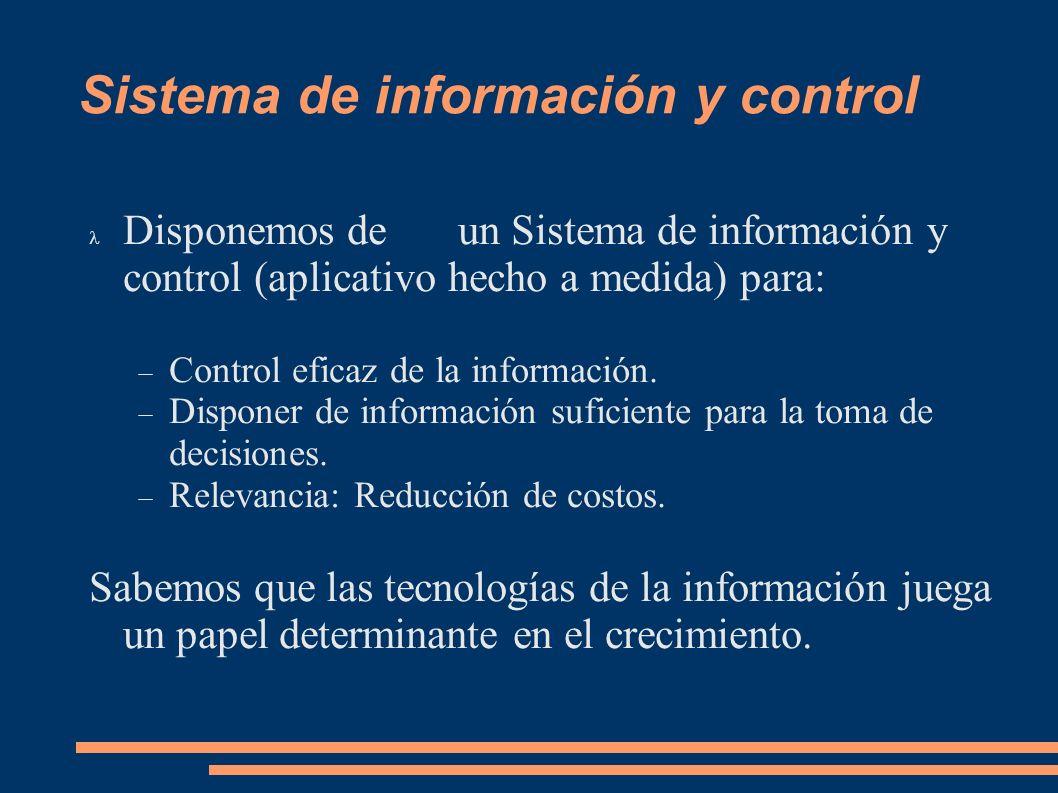 Sistema de información y control Disponemos de un Sistema de información y control (aplicativo hecho a medida) para: Control eficaz de la información.
