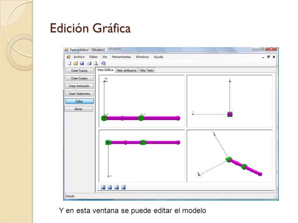 Crear Animación Se editan los grados de libertad de cada conexión