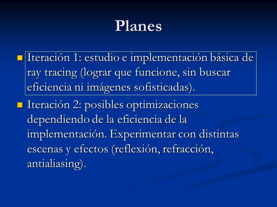 Planes Iteración 1: estudio e implementación básica de ray tracing (lograr que funcione, sin buscar eficiencia ni imágenes sofisticadas).
