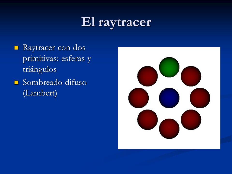 El raytracer Raytracer con dos primitivas: esferas y triángulos Raytracer con dos primitivas: esferas y triángulos Sombreado difuso (Lambert) Sombreado difuso (Lambert)