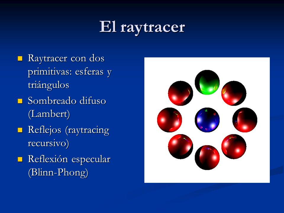El raytracer Raytracer con dos primitivas: esferas y triángulos Raytracer con dos primitivas: esferas y triángulos Sombreado difuso (Lambert) Sombreado difuso (Lambert) Reflejos (raytracing recursivo) Reflejos (raytracing recursivo) Reflexión especular (Blinn-Phong) Reflexión especular (Blinn-Phong)