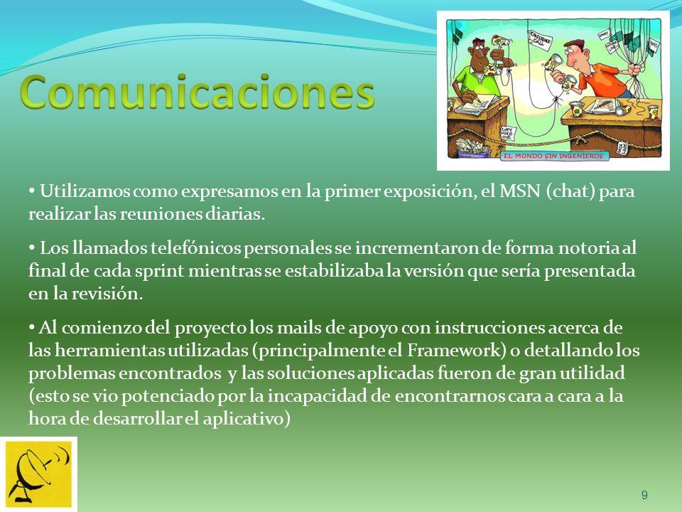 9 Utilizamos como expresamos en la primer exposición, el MSN (chat) para realizar las reuniones diarias.