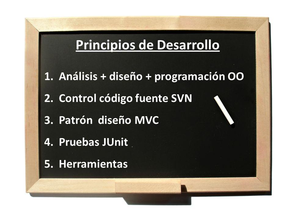 1.Análisis + diseño + programación OO 2.Control código fuente SVN 3.Patrón diseño MVC 4.Pruebas JUnit 5.Herramientas Principios de Desarrollo