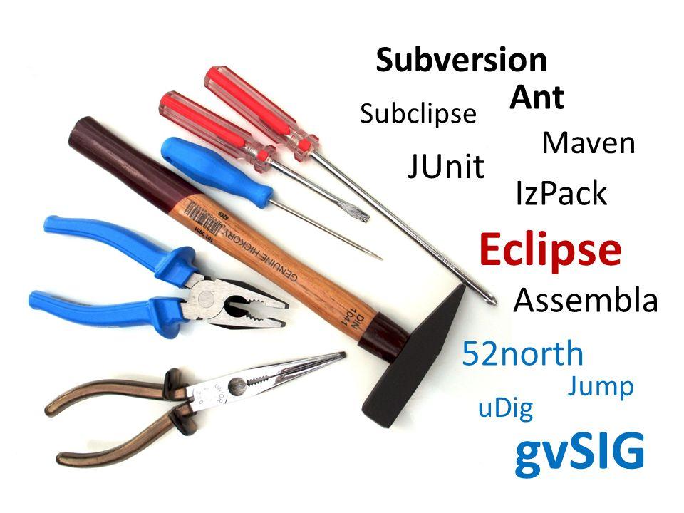 Subversion Eclipse JUnit Maven Ant IzPack Subclipse Assembla 52north Jump uDig gvSIG