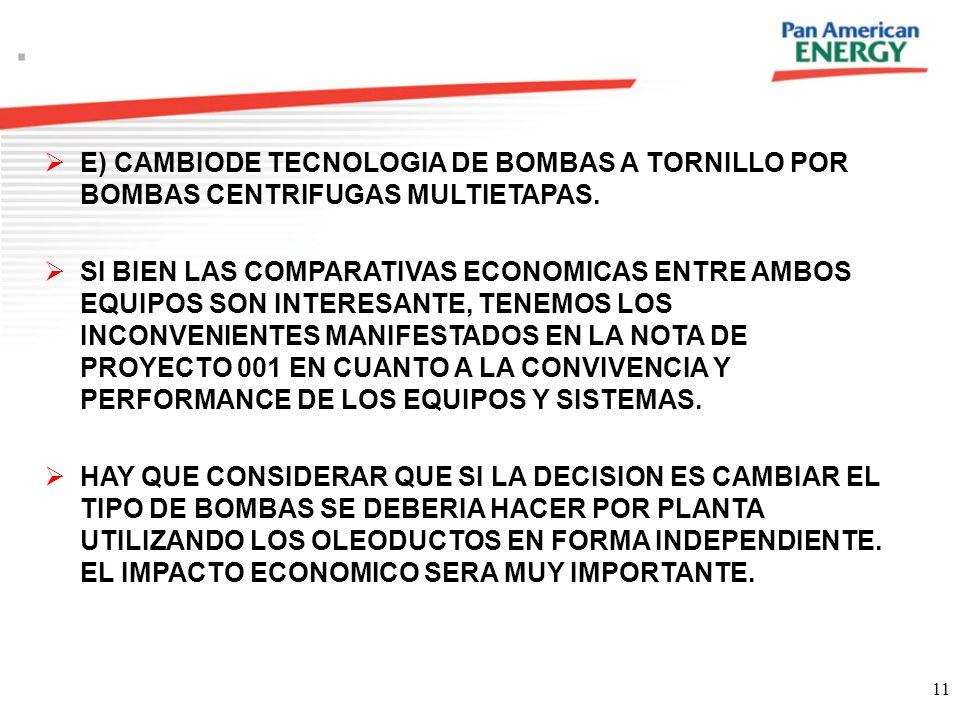11. E) CAMBIODE TECNOLOGIA DE BOMBAS A TORNILLO POR BOMBAS CENTRIFUGAS MULTIETAPAS. SI BIEN LAS COMPARATIVAS ECONOMICAS ENTRE AMBOS EQUIPOS SON INTERE