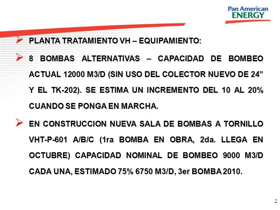 2 PLANTA TRATAMIENTO VH – EQUIPAMIENTO: PLANTA TRATAMIENTO VH – EQUIPAMIENTO: 8 BOMBAS ALTERNATIVAS – CAPACIDAD DE BOMBEO ACTUAL 12000 M3/D (SIN USO D