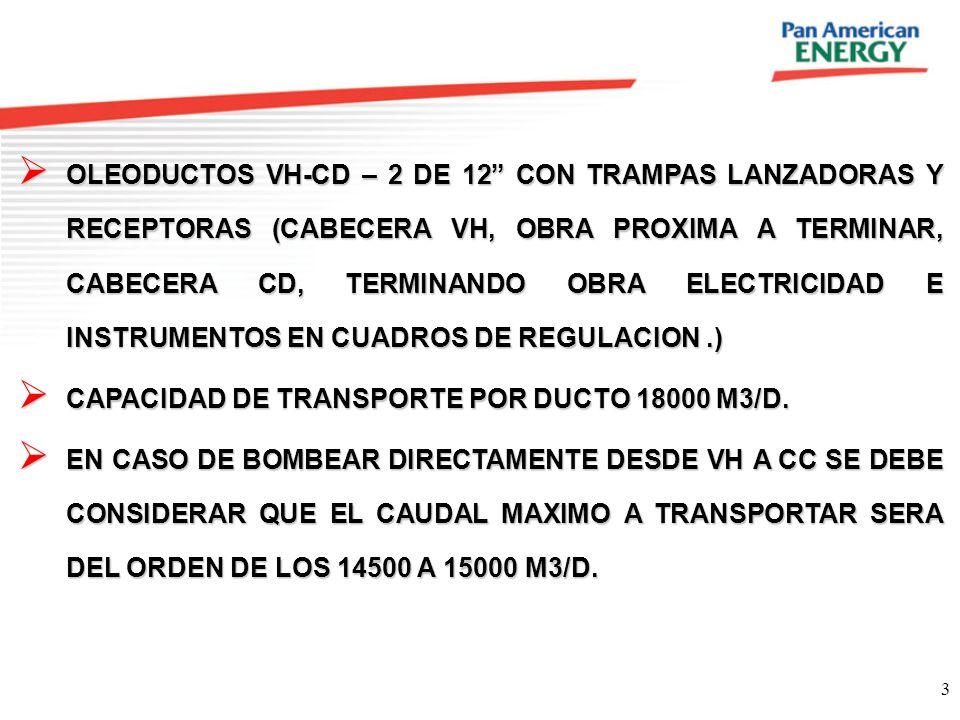 3 OLEODUCTOS VH-CD – 2 DE 12 CON TRAMPAS LANZADORAS Y RECEPTORAS (CABECERA VH, OBRA PROXIMA A TERMINAR, CABECERA CD, TERMINANDO OBRA ELECTRICIDAD E IN