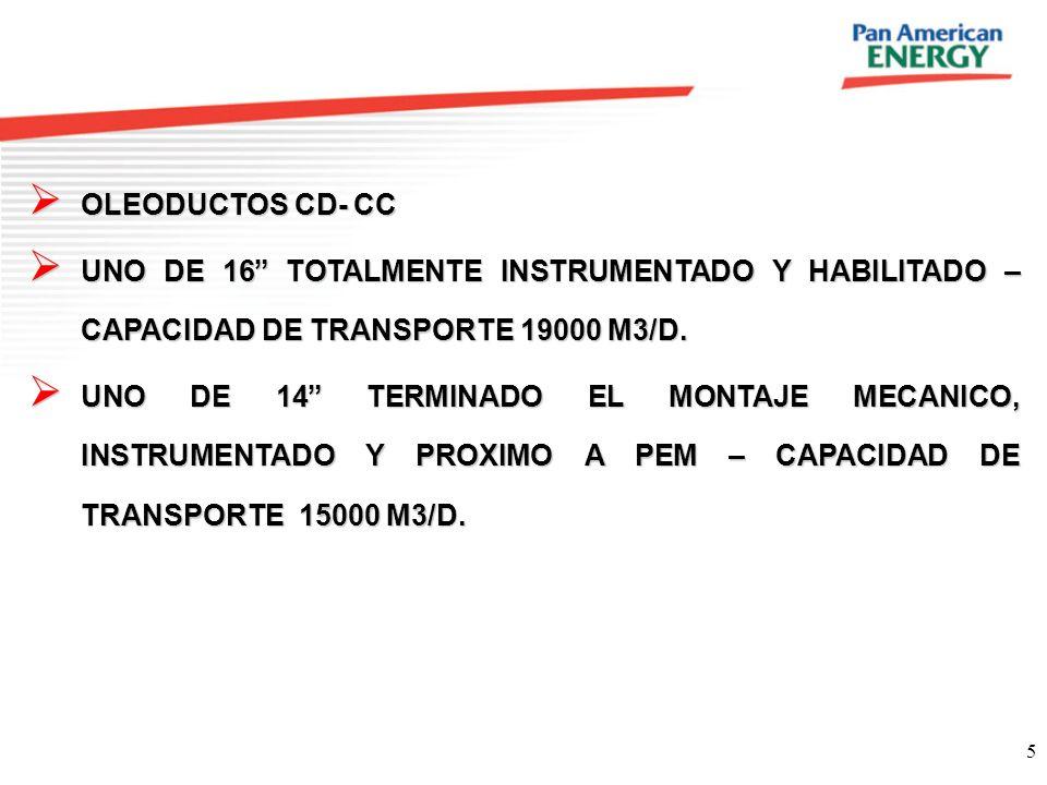 5 OLEODUCTOS CD- CC OLEODUCTOS CD- CC UNO DE 16 TOTALMENTE INSTRUMENTADO Y HABILITADO – CAPACIDAD DE TRANSPORTE 19000 M3/D. UNO DE 16 TOTALMENTE INSTR
