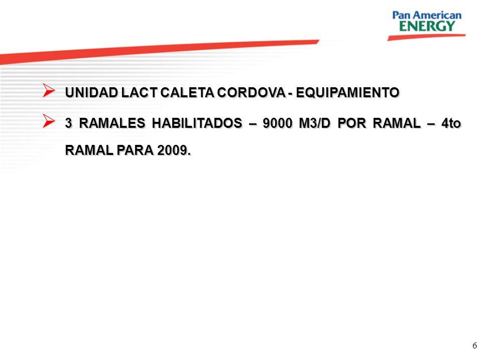 6 UNIDAD LACT CALETA CORDOVA - EQUIPAMIENTO UNIDAD LACT CALETA CORDOVA - EQUIPAMIENTO 3 RAMALES HABILITADOS – 9000 M3/D POR RAMAL – 4to RAMAL PARA 200