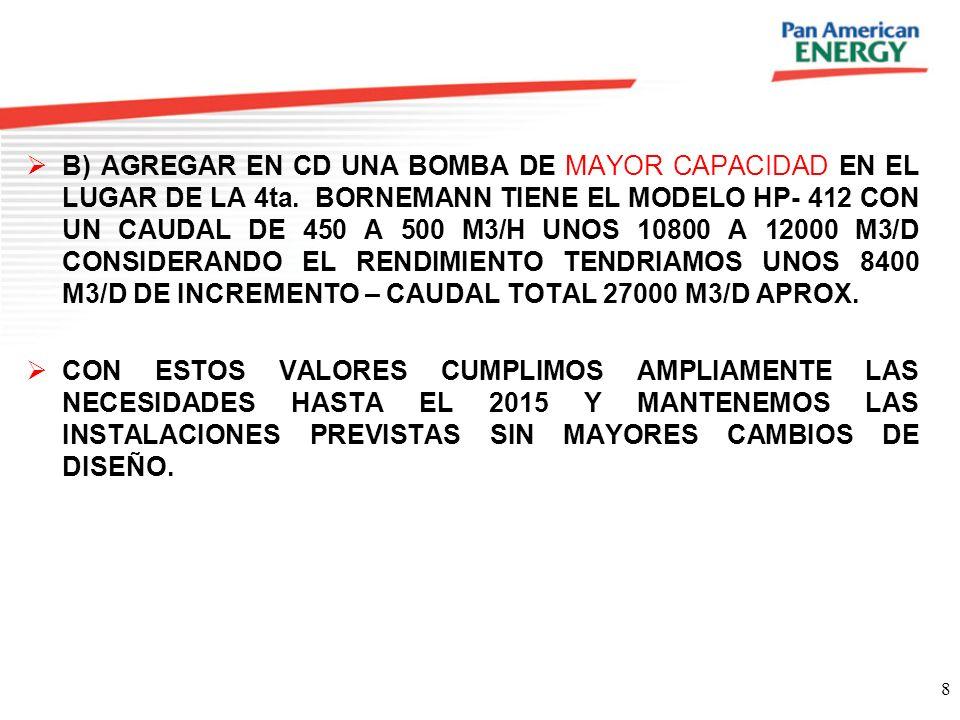8 B) AGREGAR EN CD UNA BOMBA DE MAYOR CAPACIDAD EN EL LUGAR DE LA 4ta. BORNEMANN TIENE EL MODELO HP- 412 CON UN CAUDAL DE 450 A 500 M3/H UNOS 10800 A