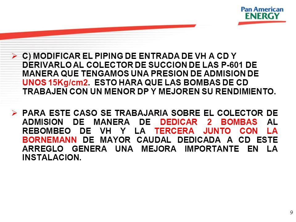 9 C) MODIFICAR EL PIPING DE ENTRADA DE VH A CD Y DERIVARLO AL COLECTOR DE SUCCION DE LAS P-601 DE MANERA QUE TENGAMOS UNA PRESION DE ADMISION DE UNOS