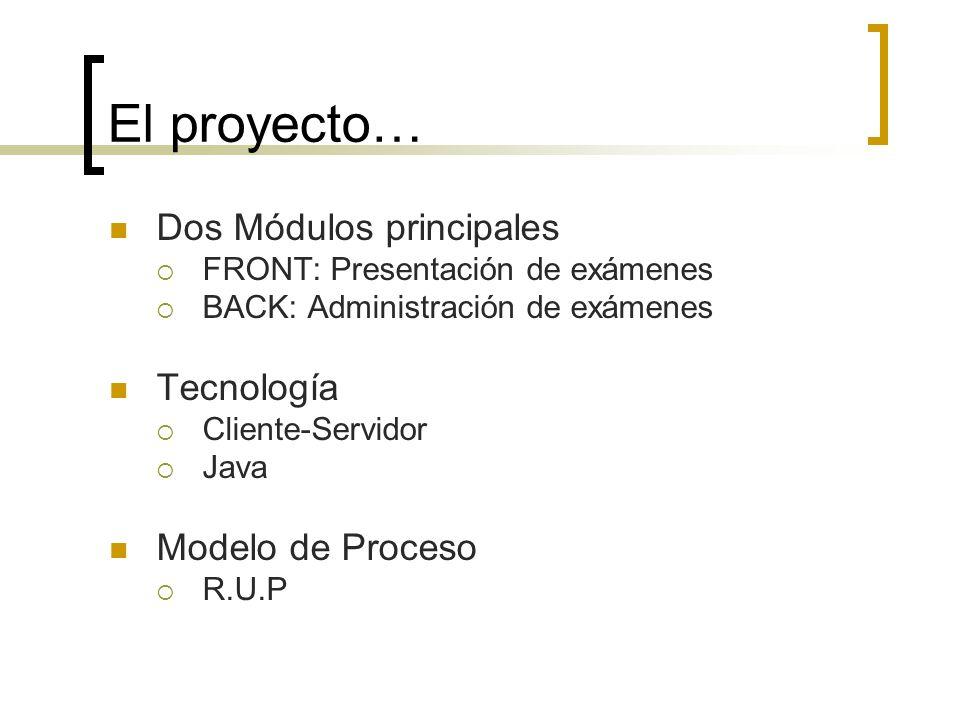 El proyecto… Dos Módulos principales FRONT: Presentación de exámenes BACK: Administración de exámenes Tecnología Cliente-Servidor Java Modelo de Proce