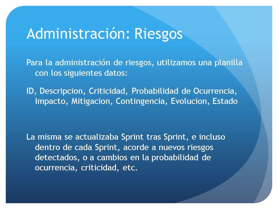 Administración: Riesgos Para la administración de riesgos, utilizamos una planilla con los siguientes datos: ID, Descripcion, Criticidad, Probabilidad de Ocurrencia, Impacto, Mitigacion, Contingencia, Evolucion, Estado La misma se actualizaba Sprint tras Sprint, e incluso dentro de cada Sprint, acorde a nuevos riesgos detectados, o a cambios en la probabilidad de ocurrencia, criticidad, etc.