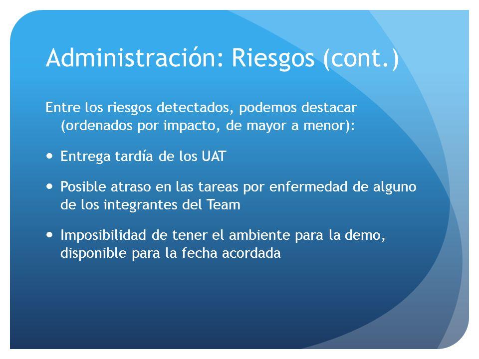 Administración: Riesgos (cont.) Entre los riesgos detectados, podemos destacar (ordenados por impacto, de mayor a menor): Entrega tardía de los UAT Po