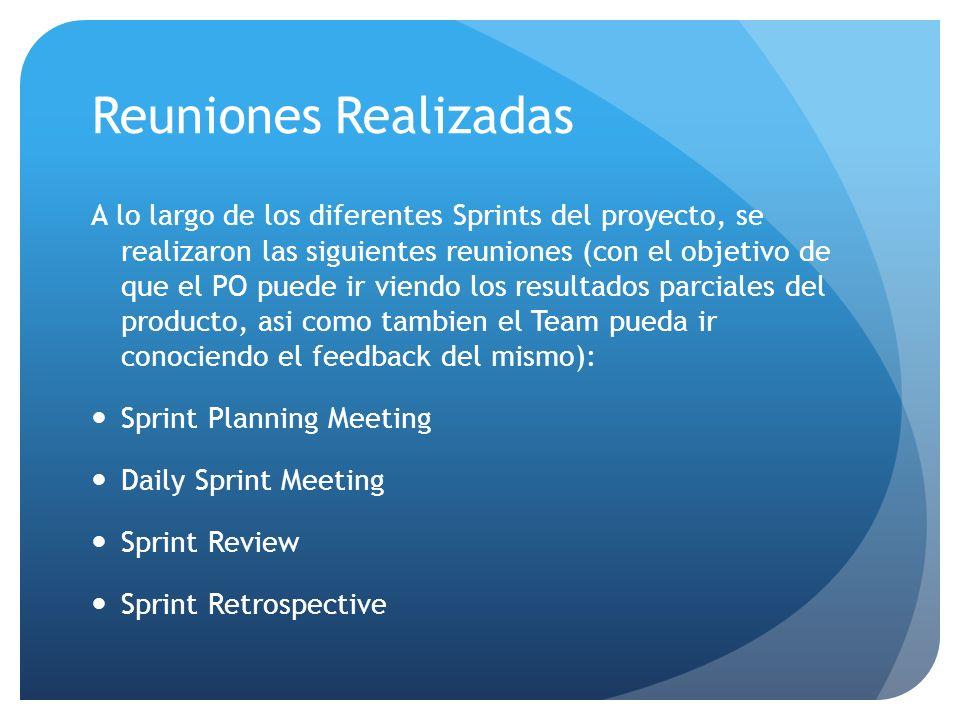 Reuniones Realizadas A lo largo de los diferentes Sprints del proyecto, se realizaron las siguientes reuniones (con el objetivo de que el PO puede ir viendo los resultados parciales del producto, asi como tambien el Team pueda ir conociendo el feedback del mismo): Sprint Planning Meeting Daily Sprint Meeting Sprint Review Sprint Retrospective