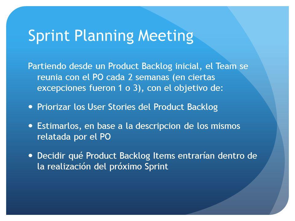 Daily Sprint Meeting Dado que los integrantes del Team nos encontrabamos en lugares físicos distintos, la reunion diaria nunca fue realizada en persona, sino por emails y/o por telefono.