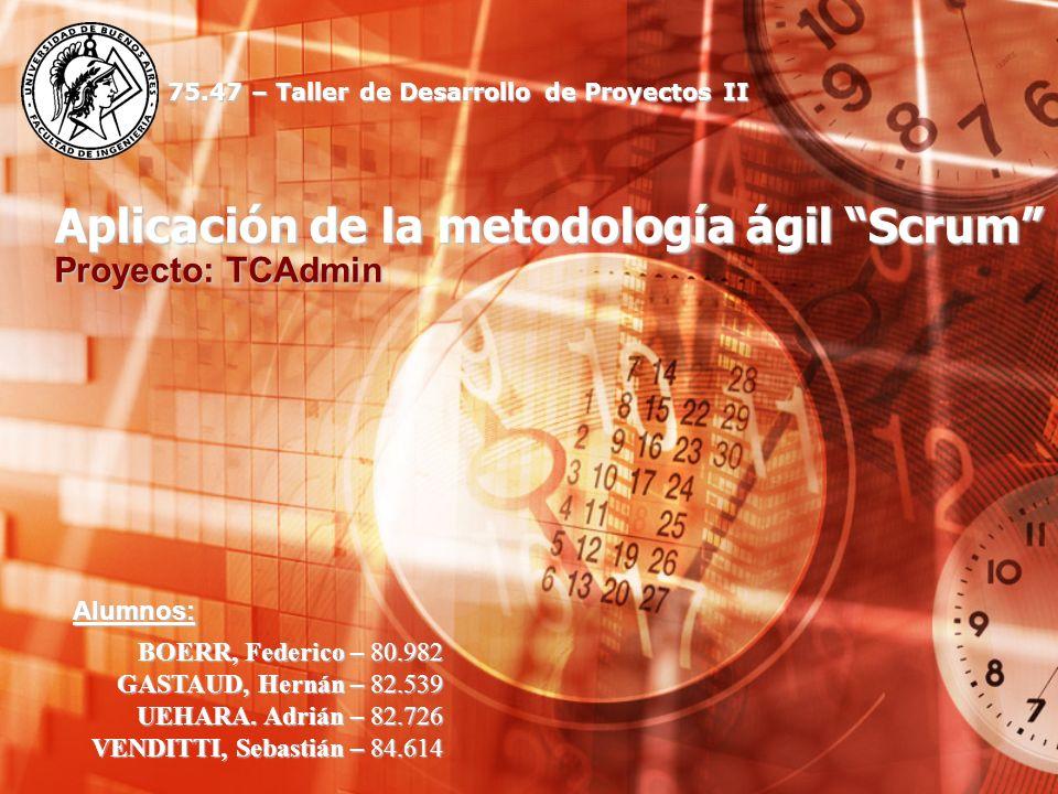 Aplicación de la metodología ágil Scrum Proyecto: TCAdmin BOERR, Federico – 80.982 GASTAUD, Hernán – 82.539 UEHARA. Adrián – 82.726 VENDITTI, Sebastiá
