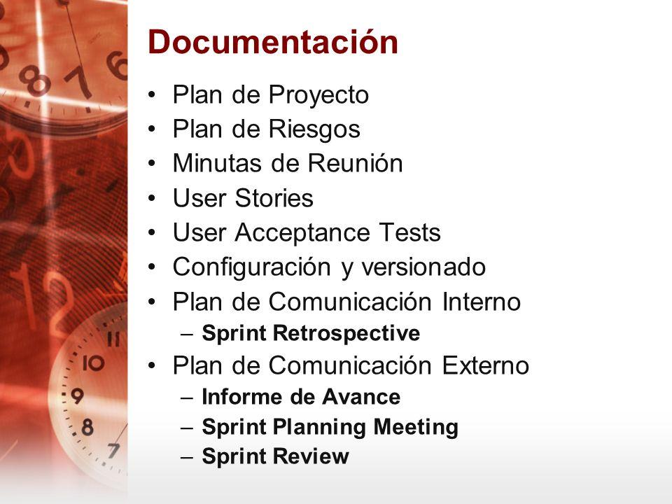 Documentación Plan de Proyecto Plan de Riesgos Minutas de Reunión User Stories User Acceptance Tests Configuración y versionado Plan de Comunicación I