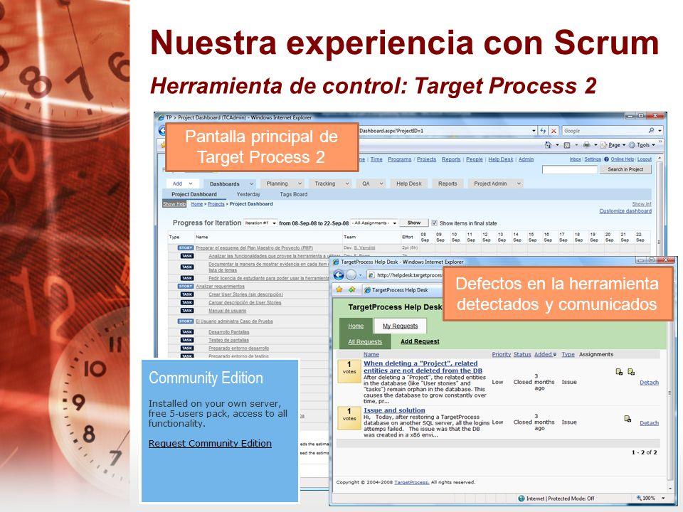 Nuestra experiencia con Scrum Herramienta de control: Target Process 2 Defectos en la herramienta detectados y comunicados Pantalla principal de Targe