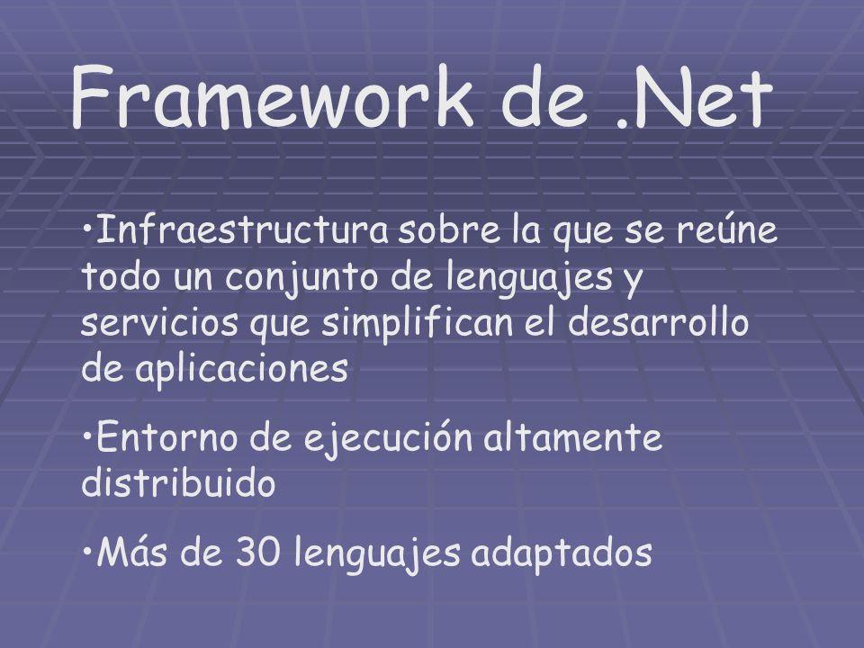 Framework de.Net Infraestructura sobre la que se reúne todo un conjunto de lenguajes y servicios que simplifican el desarrollo de aplicaciones Entorno
