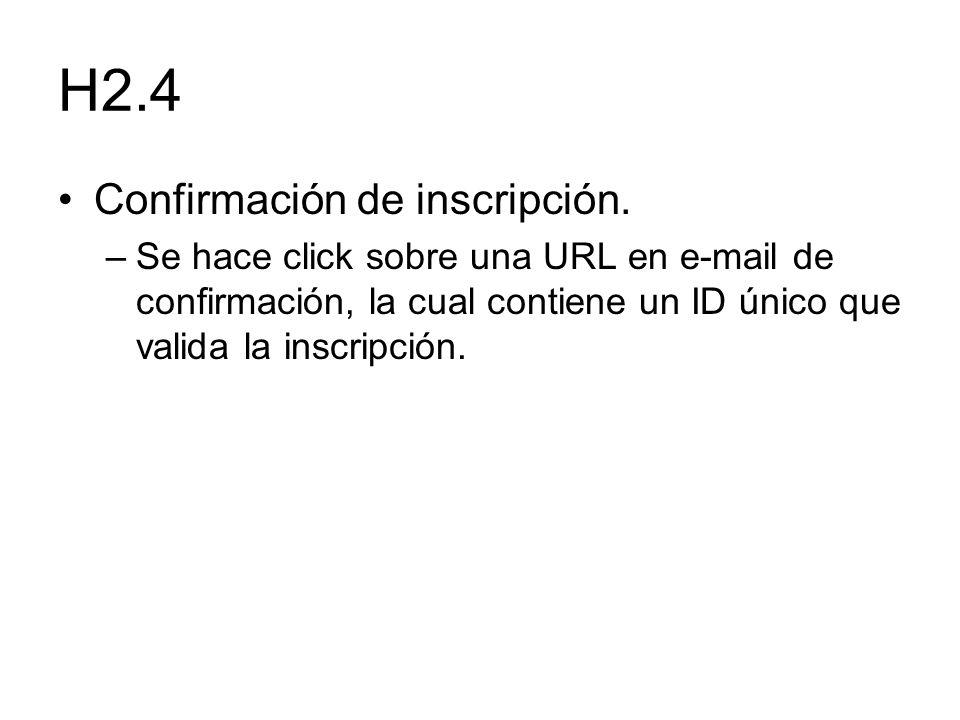 H2.4 Confirmación de inscripción. –Se hace click sobre una URL en e-mail de confirmación, la cual contiene un ID único que valida la inscripción.