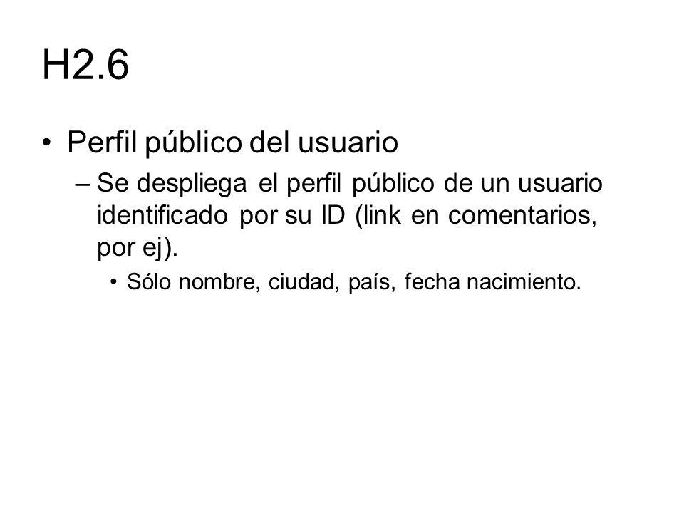 H2.6 Perfil público del usuario –Se despliega el perfil público de un usuario identificado por su ID (link en comentarios, por ej). Sólo nombre, ciuda