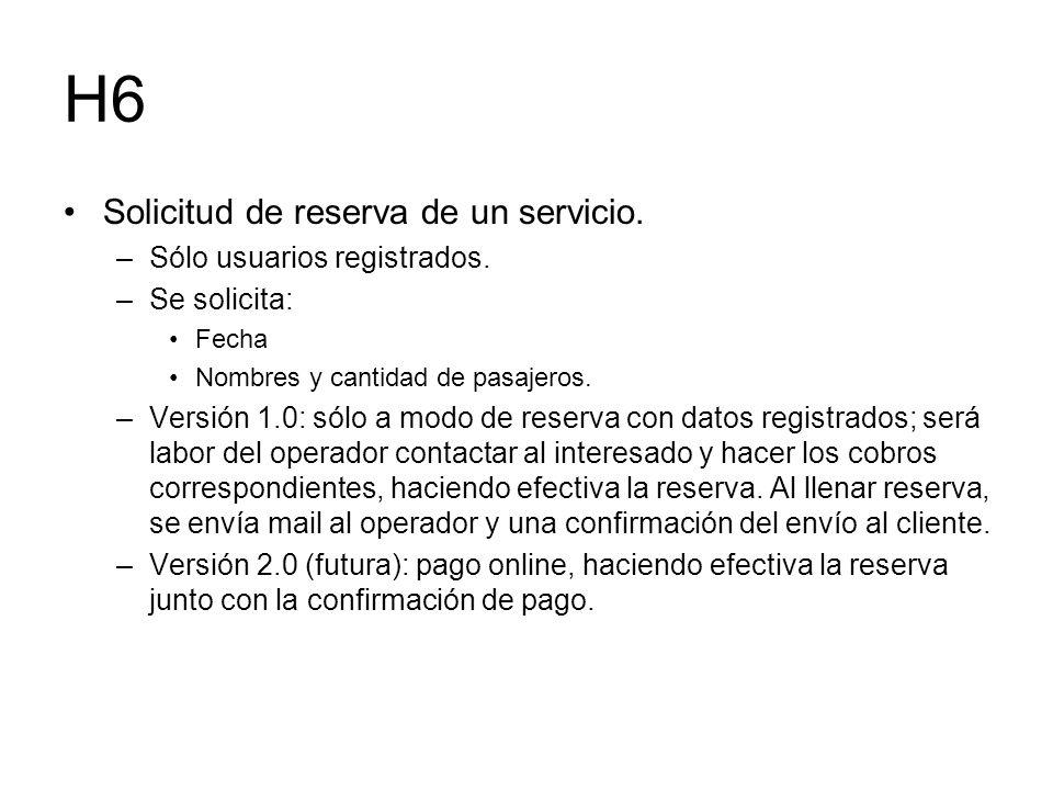 H6 Solicitud de reserva de un servicio. –Sólo usuarios registrados. –Se solicita: Fecha Nombres y cantidad de pasajeros. –Versión 1.0: sólo a modo de