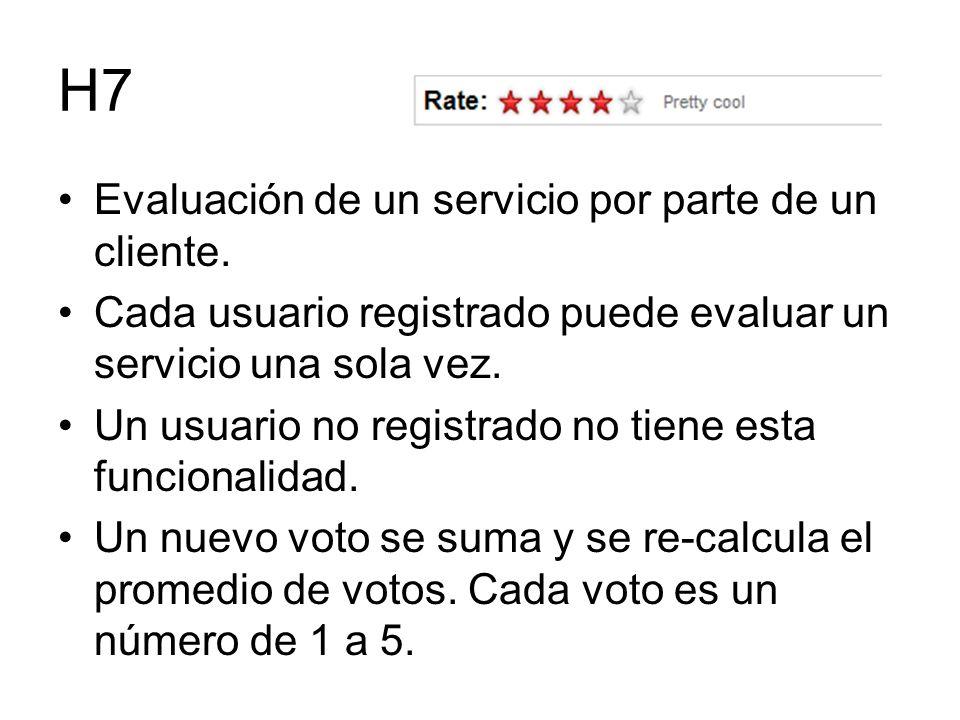 H7 Evaluación de un servicio por parte de un cliente. Cada usuario registrado puede evaluar un servicio una sola vez. Un usuario no registrado no tien