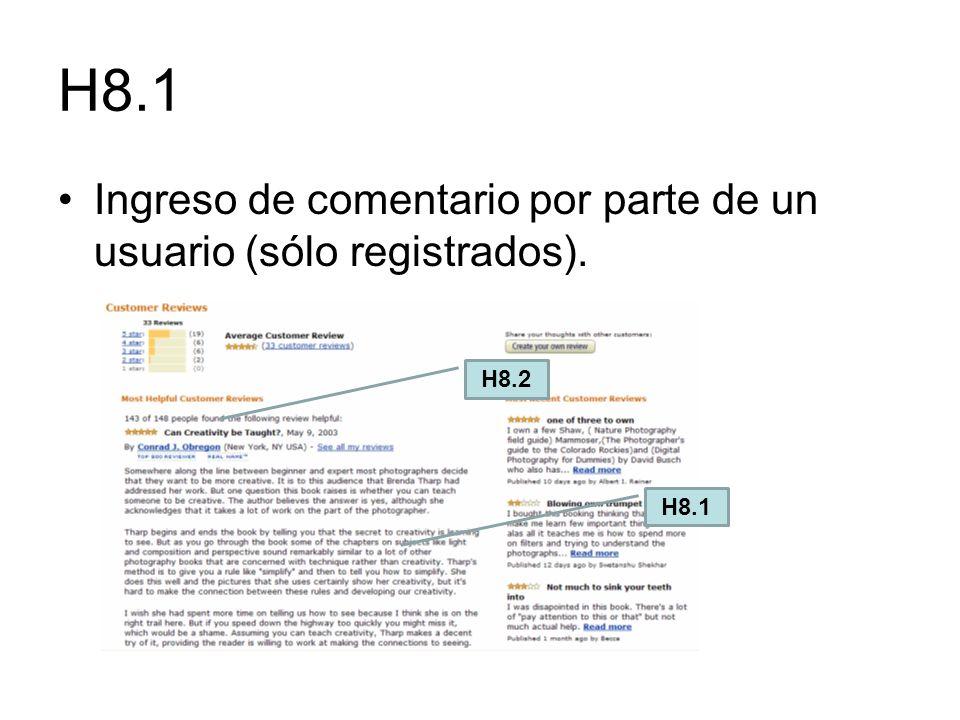 H8.1 Ingreso de comentario por parte de un usuario (sólo registrados). H8.1 H8.2