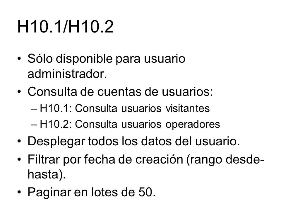 H10.1/H10.2 Sólo disponible para usuario administrador. Consulta de cuentas de usuarios: –H10.1: Consulta usuarios visitantes –H10.2: Consulta usuario
