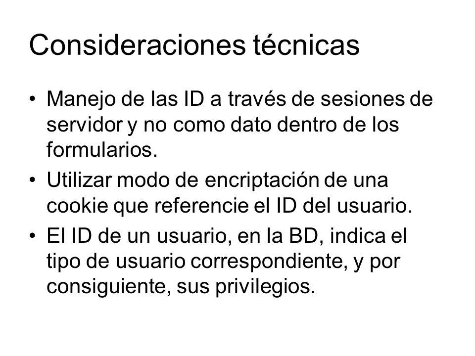 Consideraciones técnicas Manejo de las ID a través de sesiones de servidor y no como dato dentro de los formularios. Utilizar modo de encriptación de