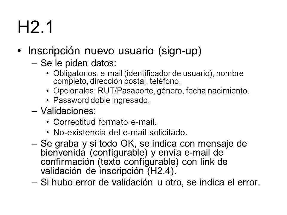 H2.1 Inscripción nuevo usuario (sign-up) –Se le piden datos: Obligatorios: e-mail (identificador de usuario), nombre completo, dirección postal, teléf