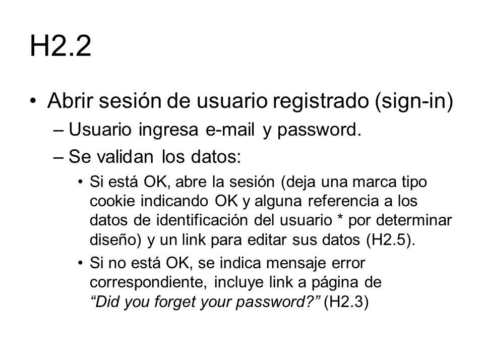 H2.2 Abrir sesión de usuario registrado (sign-in) –Usuario ingresa e-mail y password. –Se validan los datos: Si está OK, abre la sesión (deja una marc