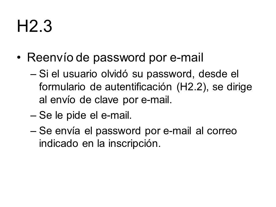 H2.3 Reenvío de password por e-mail –Si el usuario olvidó su password, desde el formulario de autentificación (H2.2), se dirige al envío de clave por
