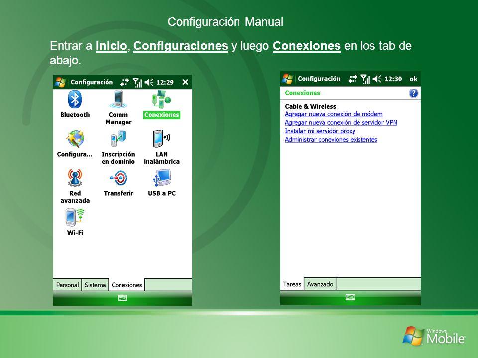 Marcar Nuevo indicando el nombre de la conexión y que se conectará a través de GPRS.